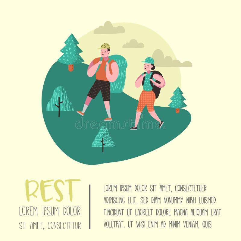 Lato Campingowy plakat, sztandar Postać Z Kreskówki Zaludniają Wycieczkować w górach plakat, zaproszenie, tło ilustracja wektor