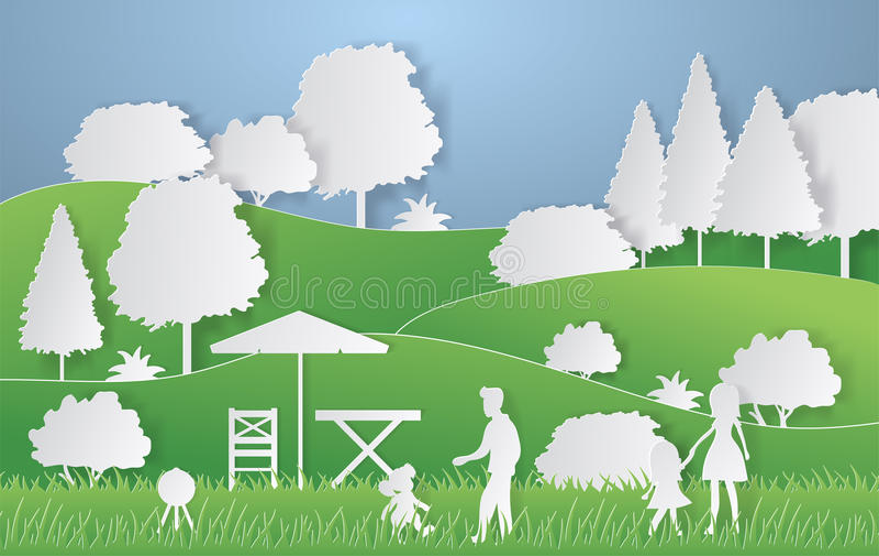 Lato campingu papieru cięcia styl Pojęcie z wzgórzami, drzewa, ludzie przy pinkinem również zwrócić corel ilustracji wektora royalty ilustracja