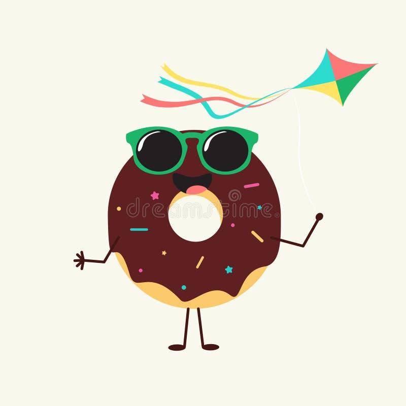 Lato cukierki Kolorów donuts ikony tortowy projekt royalty ilustracja