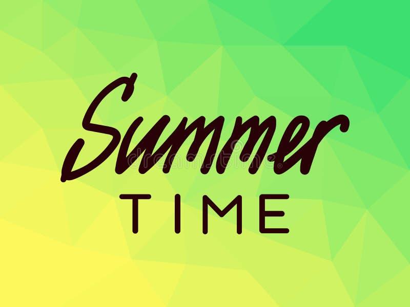Lato czas na poligonalnym tle, kolor żółty, zieleń royalty ilustracja