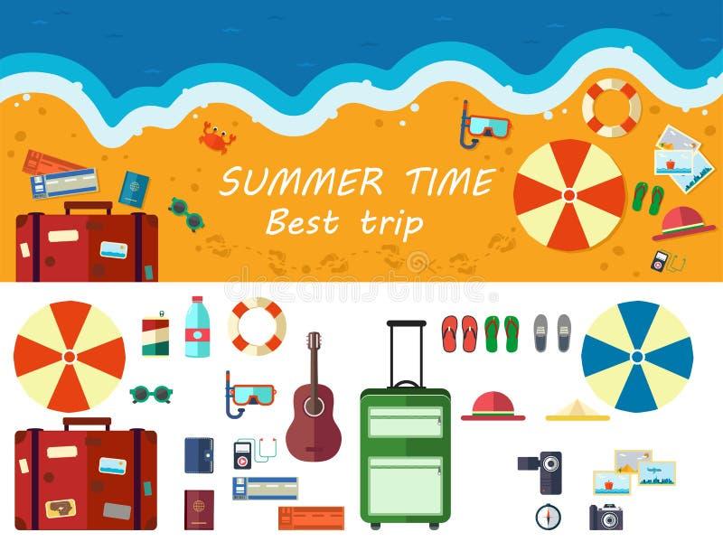 Lato czas podróżuje, plaża odpoczynek royalty ilustracja