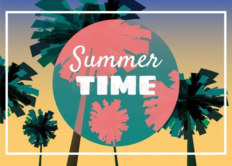 Lato czas przy seashore, morze krajobraz z palmami, minimalistic ilustracja Seascape zmierzch lub wschód słońca wektor ilustracja wektor
