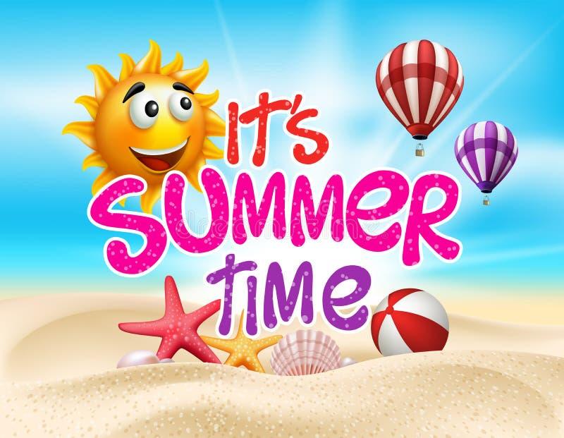 Lato czas w Plażowym Dennym brzeg z Realistycznymi przedmiotami ilustracji