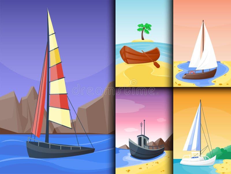 Lato czasu łodzi wakacje natury plaży tropikalny krajobraz raj wyspy wakacji laguny wektoru ilustracja royalty ilustracja