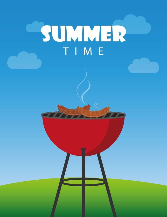 Lato czasu bbq czajnika czerwony grill z kiełbasami royalty ilustracja