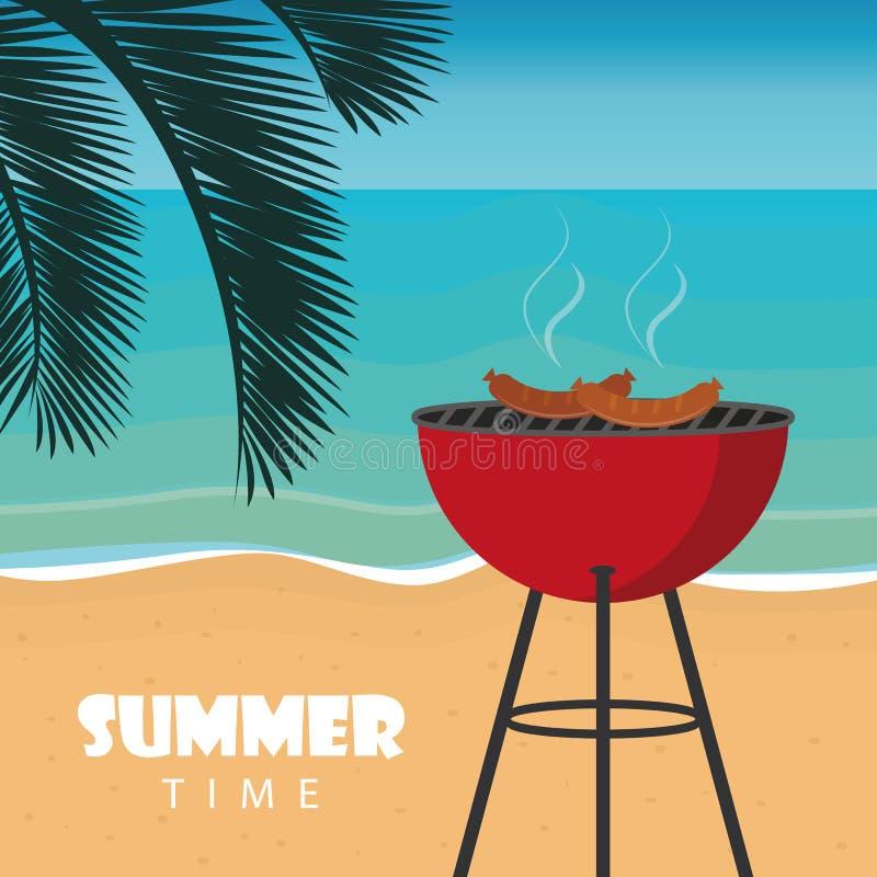 Lato czasu grill na plaży z palmowym liściem ilustracja wektor