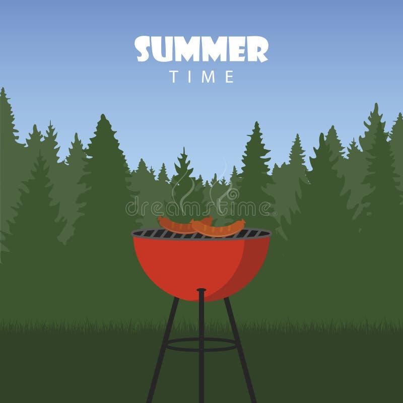 Lato czasu grill w naturze ilustracji