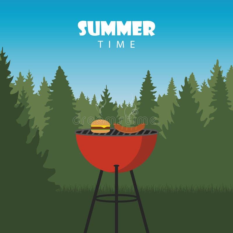Lato czasu grill w naturze ilustracja wektor