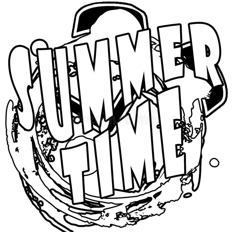 Lato czasu ilustracja, tło Czarny i biały kontur Zabawy wycena Fasonuje najlepszy plakat Ręcznie pisany sztandar, logo ilustracja wektor