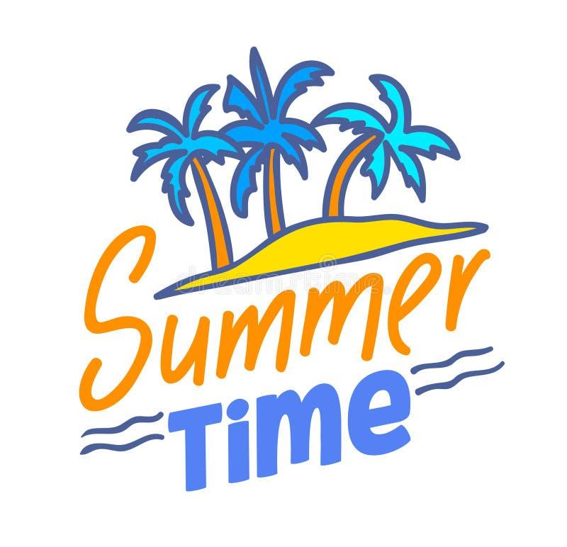 Lato czasu literowanie lub typografia projekt, odznaka z Doodle elementów Egzotyczną wyspą z drzewkami palmowymi Wakacje, podr?? royalty ilustracja