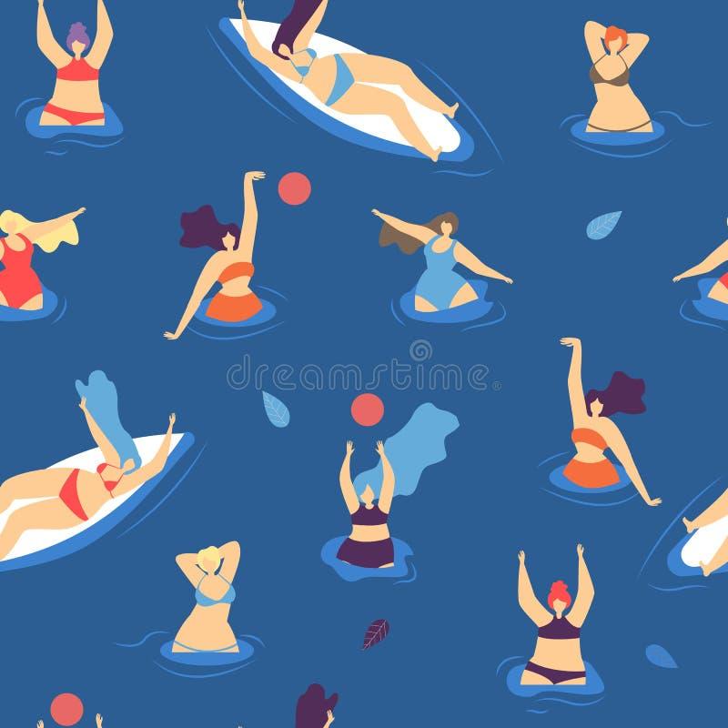 Lato czasu pływania kobiety Bezszwowy Deseniowy pojęcie royalty ilustracja