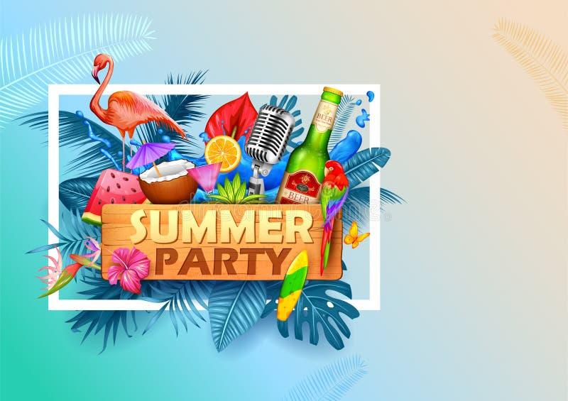 Lato czasu plakatowa tapeta dla zabawy przyj?cia zaproszenia sztandaru szablonu ilustracji