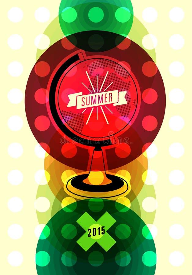 Lato czasu retro plakat Wektorowy typographical projekt z kolorowym okręgu tłem 10 eps royalty ilustracja