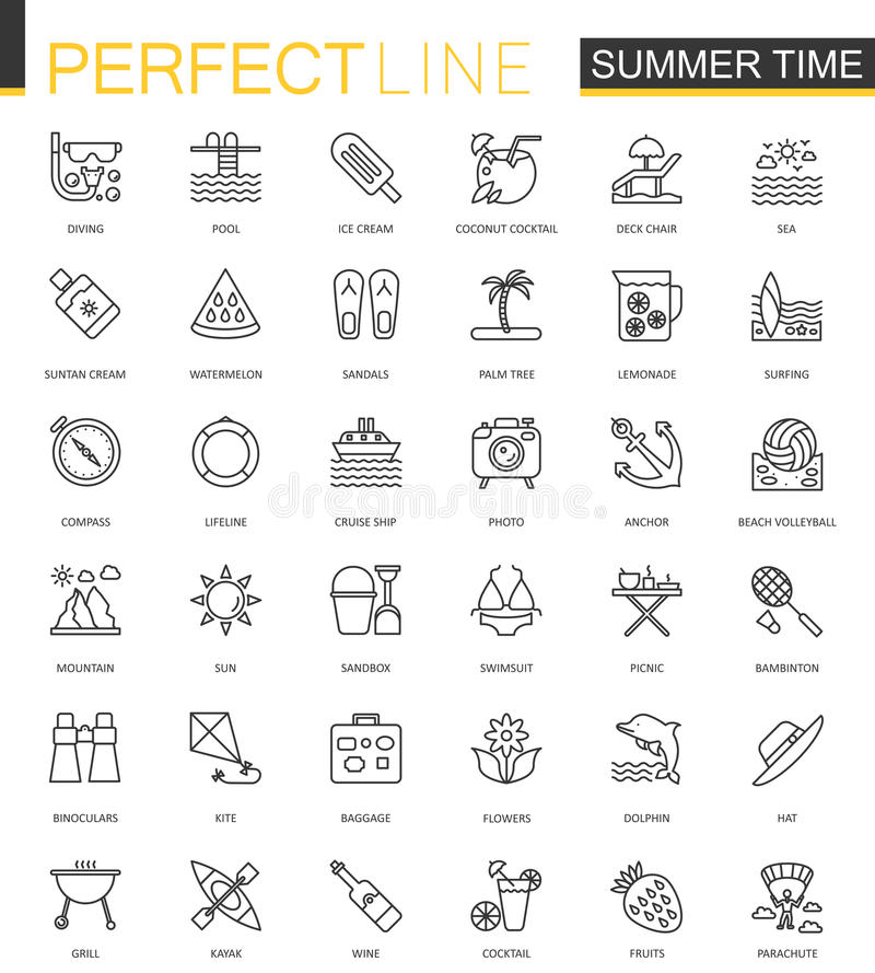 Lato czasu sieci cienkie kreskowe ikony ustawiać Urlopowy podróż konturu uderzenia ikon projekt ilustracji