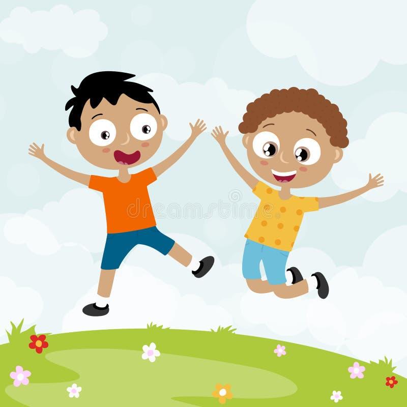 lato czasu szczęśliwi dzieciaki ma zabawę ilustracji