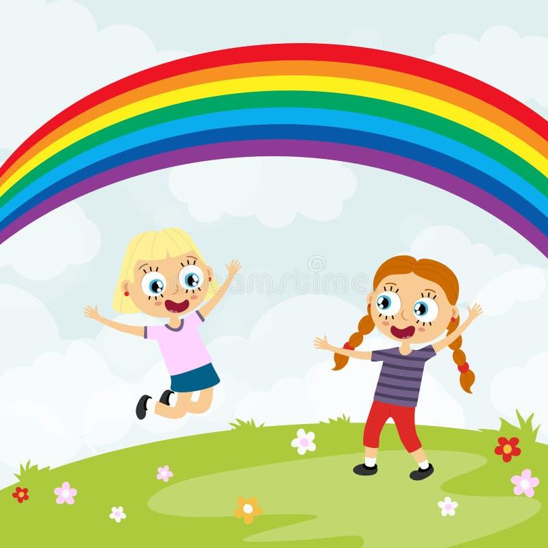 lato czasu szczęśliwi dzieciaki ma zabawę przed tęczą ilustracja wektor