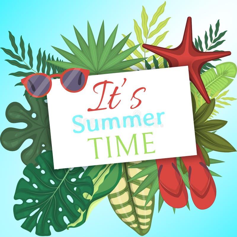 Lato czasu sztandar, plakatowa wektorowa ilustracja zostaw tropical Zadziwiające palmy Dżungla liście, rozszczepiony liść, filode royalty ilustracja