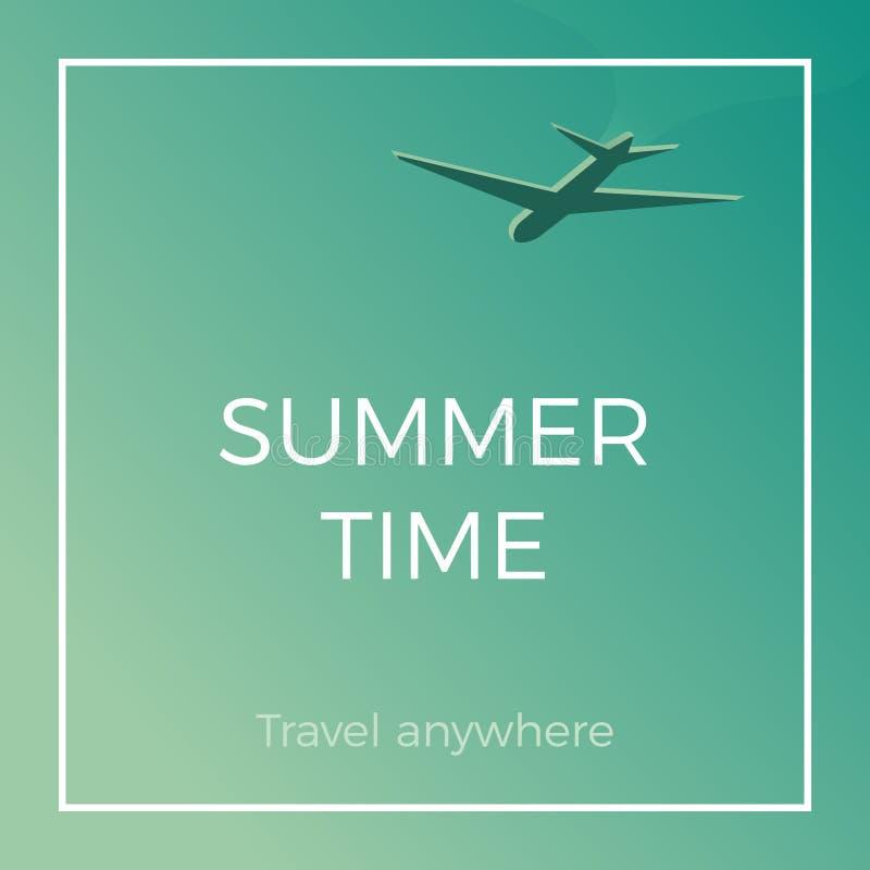 Lato czasu sztandaru tapeta z samolotem Podróży gdziekolwiek projekt dla wakacji i wakacji Wektorowa rocznik ilustracja ilustracja wektor