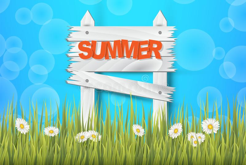 Lato czasu tło dla sztandaru lub ulotki Wysokiej jakości tło z wibrującym niebem, trawą, kwiatami i drewnianą osłoną, ilustracji