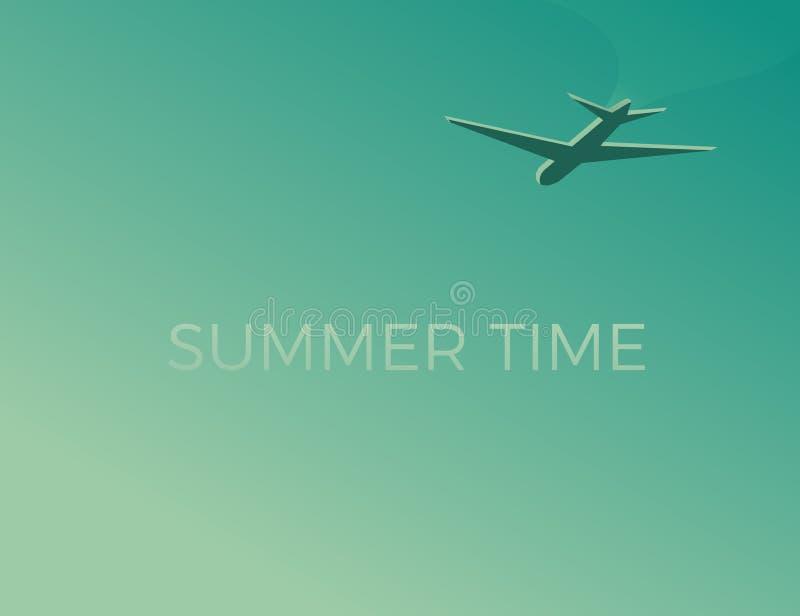 Lato czasu tło z samolotem Podróży gdziekolwiek projekt dla wakacji i wakacji Wektorowa rocznik ilustracja royalty ilustracja