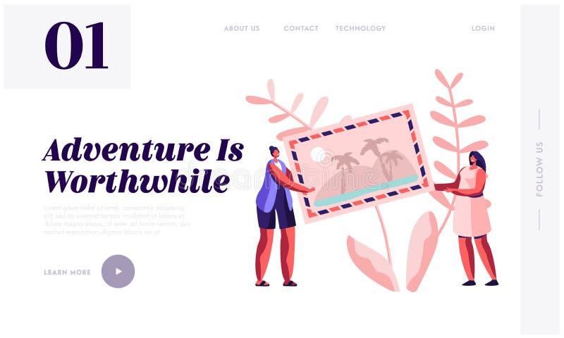 Lato czasu wakacje, pamięć Podróżna strony internetowej lądowania strona, Malutcy kobieta charaktery Trzyma Ogromną fotografię lu ilustracja wektor