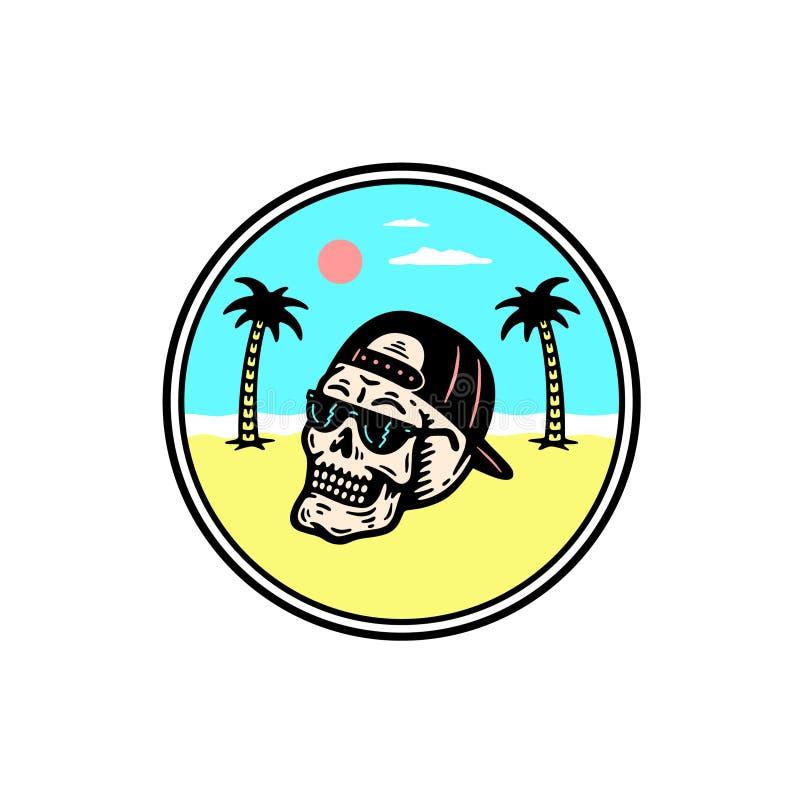 LATO czaszki drzewka palmowego odznaka ilustracja wektor