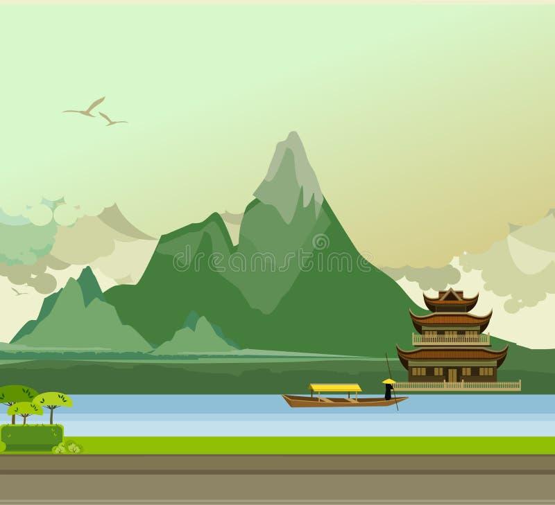 Lato del tempio buddista del fiume royalty illustrazione gratis