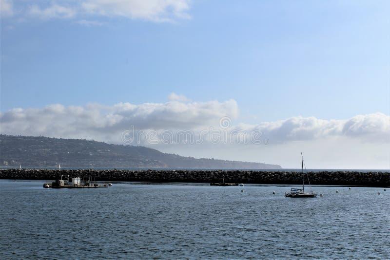 Lato dell'oceano di Portifino California a Redondo Beach, California, Stati Uniti fotografie stock libere da diritti