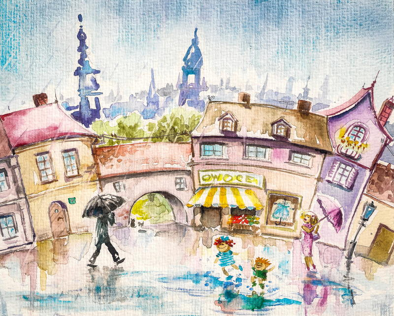 Lato deszcz ilustracji
