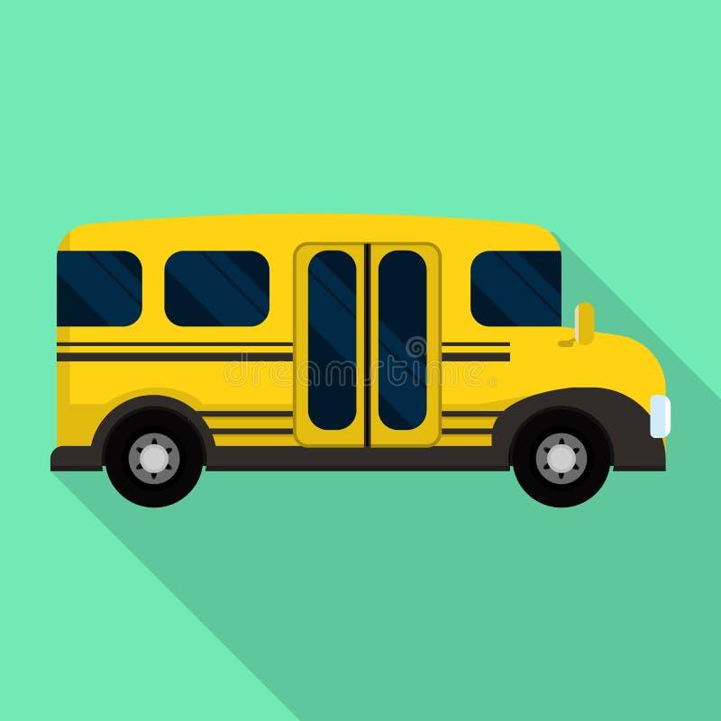 Lato di mini icona dello scuolabus, stile piano illustrazione di stock
