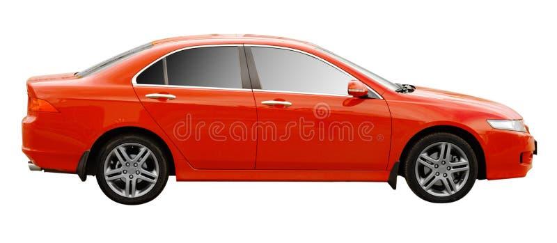 Lato di un'automobile moderna rossa immagine stock