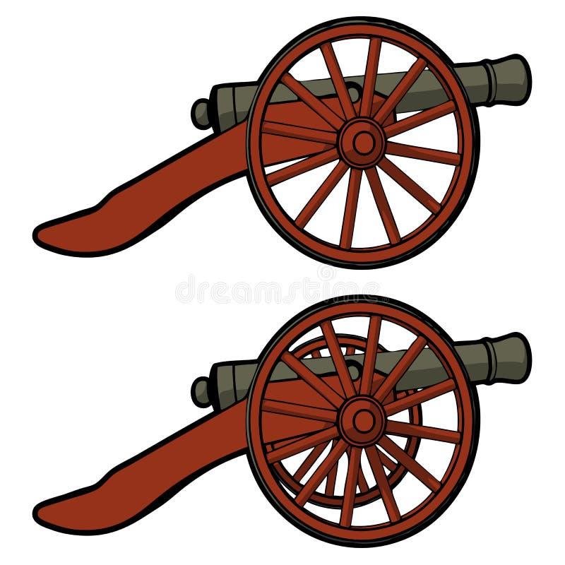 Lato di vista del cannone della guerra civile illustrazione vettoriale