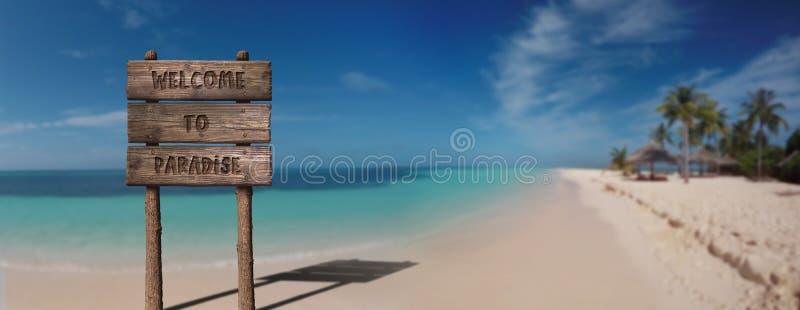 Lato Drewnianej deski znak z tekstem, powitanie raj Przy Piękną Piaskowatą plażą zdjęcie stock