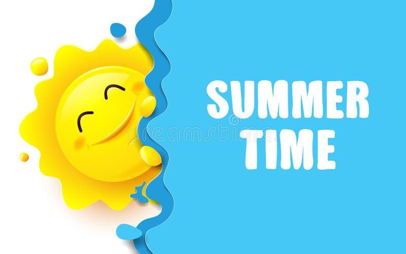 Lato, Duży słońce i błękitny oceanu tło, ilustracja wektor