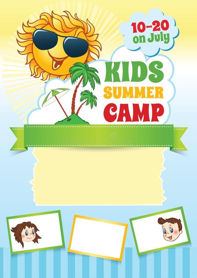 Lato dzieciaka obozu szablon ilustracja wektor
