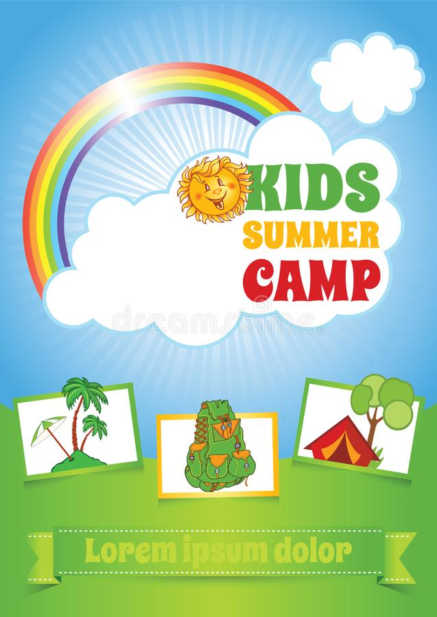 Lato dzieciaka obozu szablon, ulotka układ ilustracja wektor
