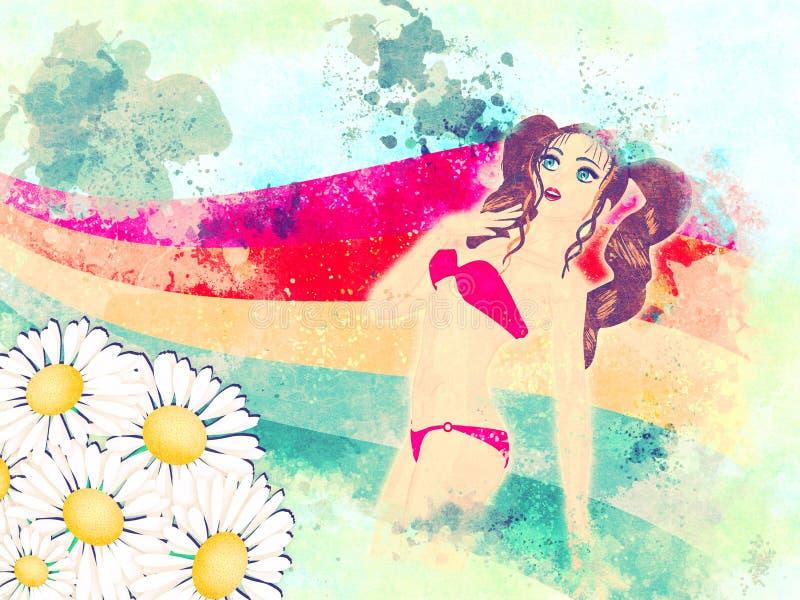 Lato dziewczyna w czerwonym bikini royalty ilustracja