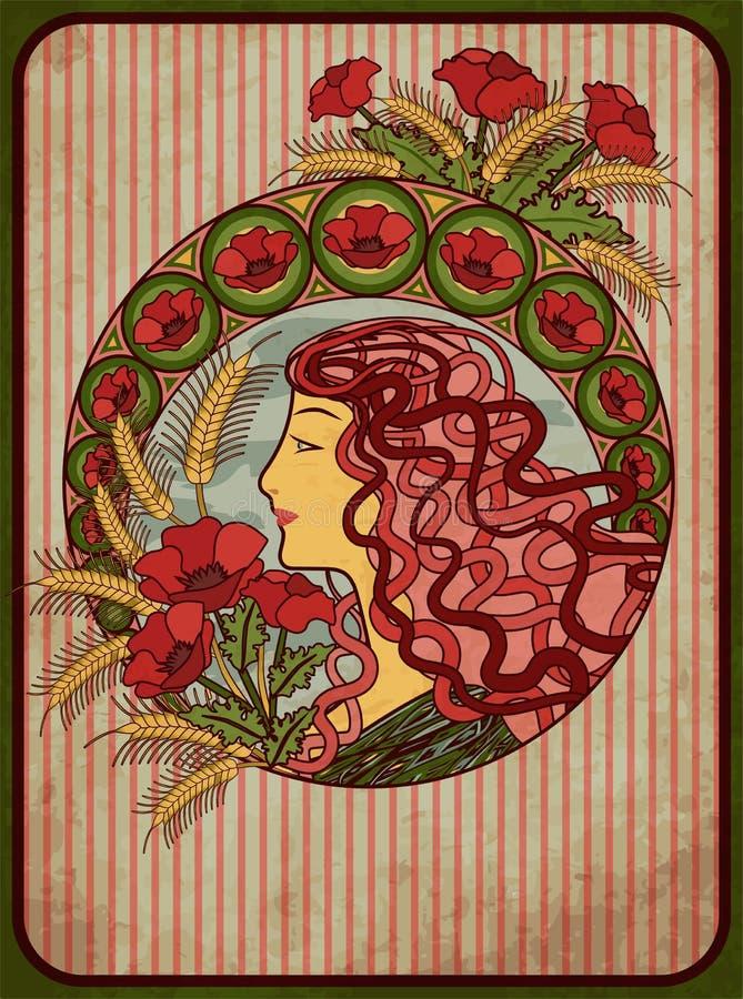 Lato dziewczyny karta w sztuki nouveau stylu, wektor royalty ilustracja