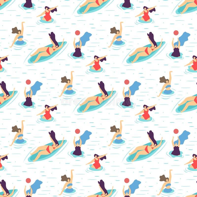 Lato dziewczyny Rekreacyjnej motywacji Bezszwowy wzór royalty ilustracja
