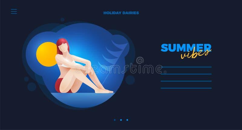 Lato dziewczyny strony internetowej projekt ilustracja wektor