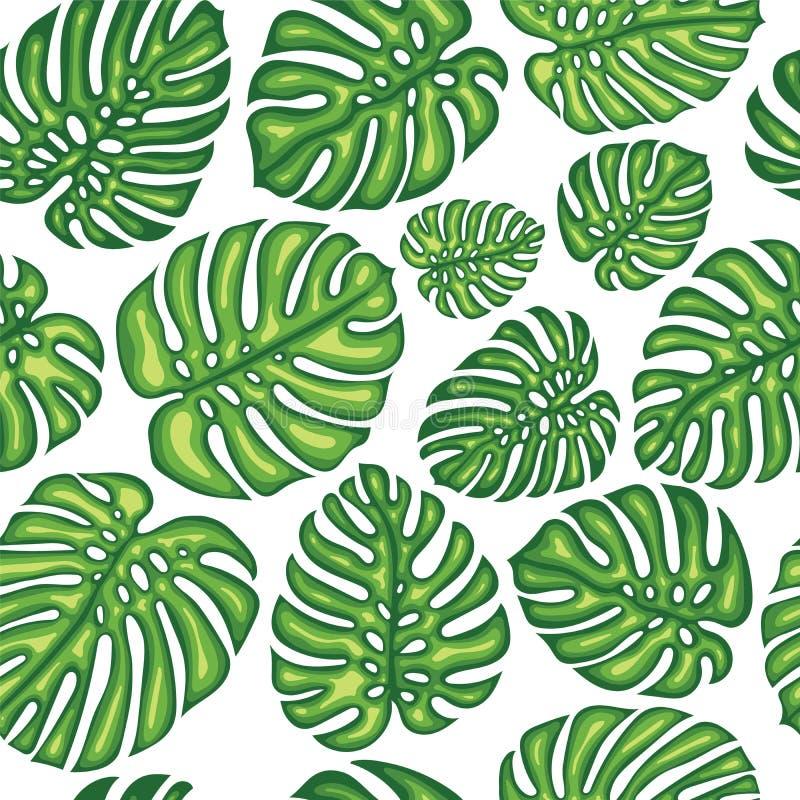 Lato Egzotyczny Bezszwowy wzór Z Tropikalnymi liśćmi ilustracji