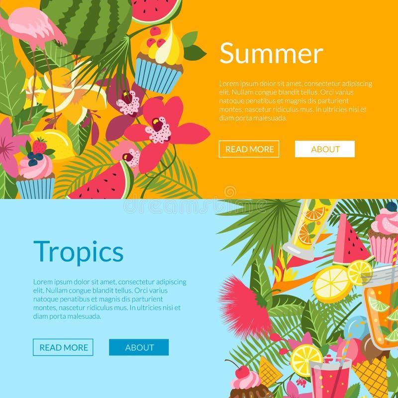 Lato elementy, koktajle, flaming, palma opuszczają sieć sztandaru szablonów ilustrację royalty ilustracja
