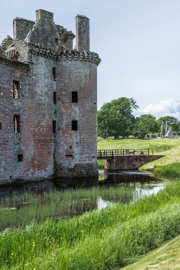 Lato est della torre dell'entrata del castello di Caerlaverock, Scozia Regno Unito fotografia stock