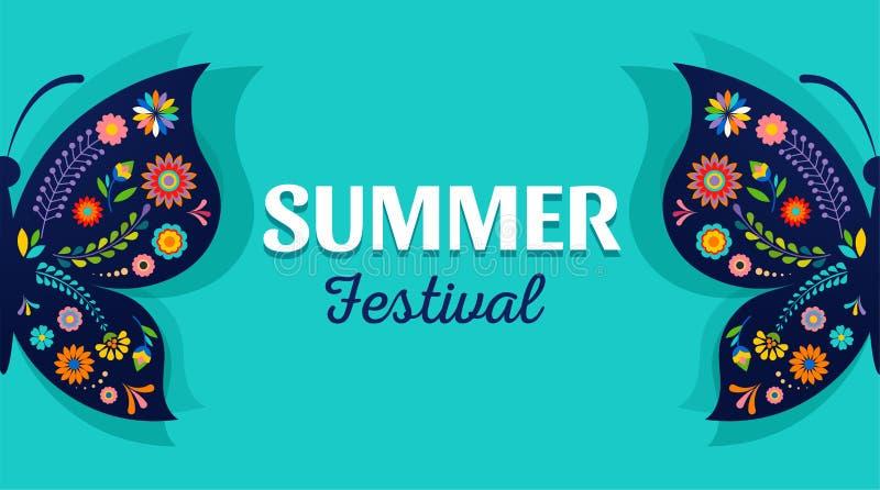 Lato festiwal, jarmark z wzorzystym motylem - wektorowy t?o ilustracja wektor