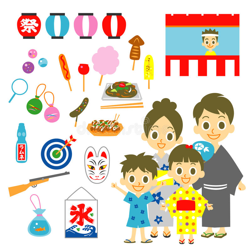 Lato festiwal w Japonia, rodzina ilustracji