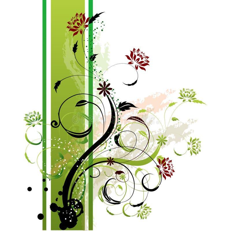 Lato floreale di verde della priorità bassa illustrazione di stock