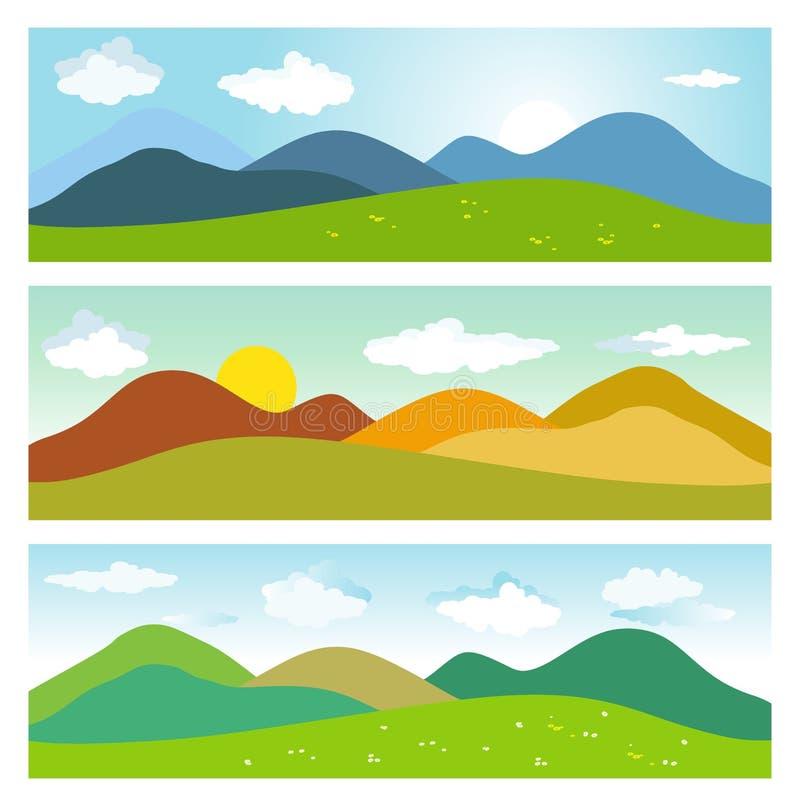 Lato góry krajobrazy ilustracja wektor