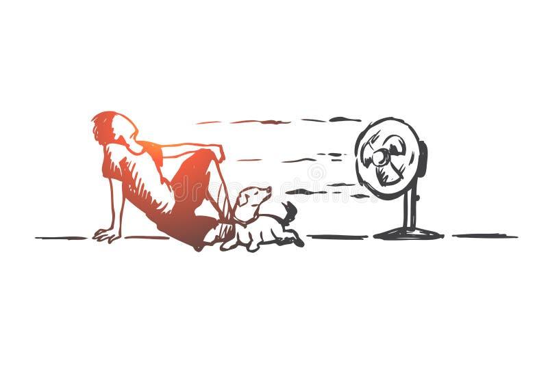 Lato, gorący, mężczyzna, psi pojęcie Ręka rysujący odosobniony wektor royalty ilustracja