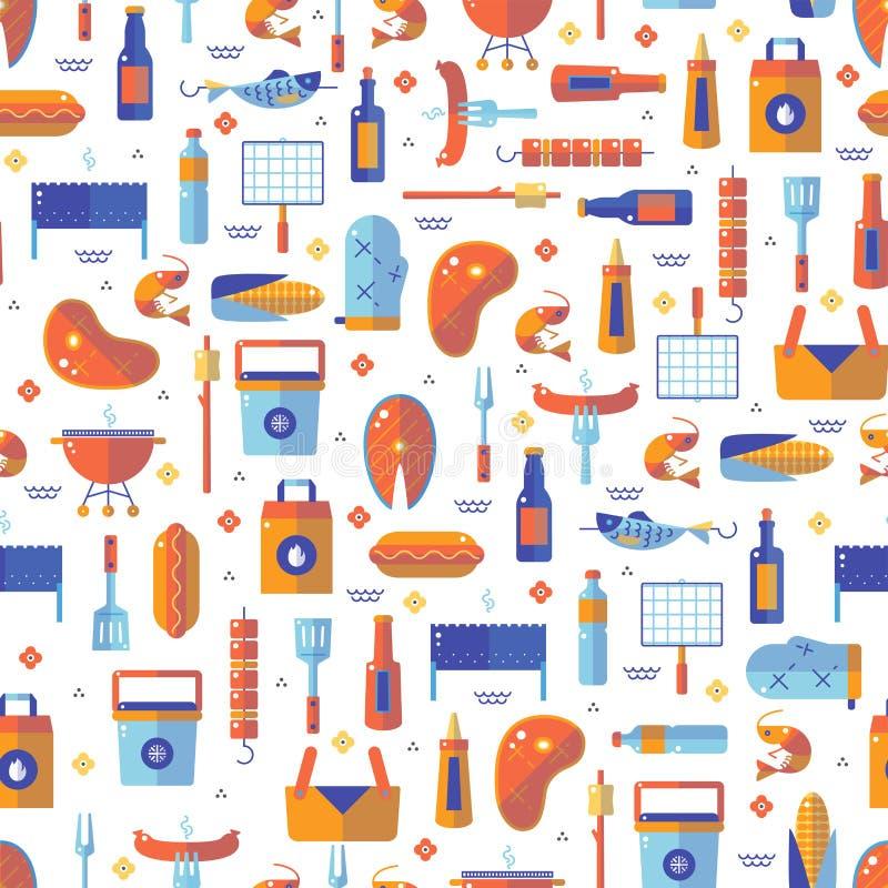 Lato grill i grilla bezszwowy wzór ilustracja wektor