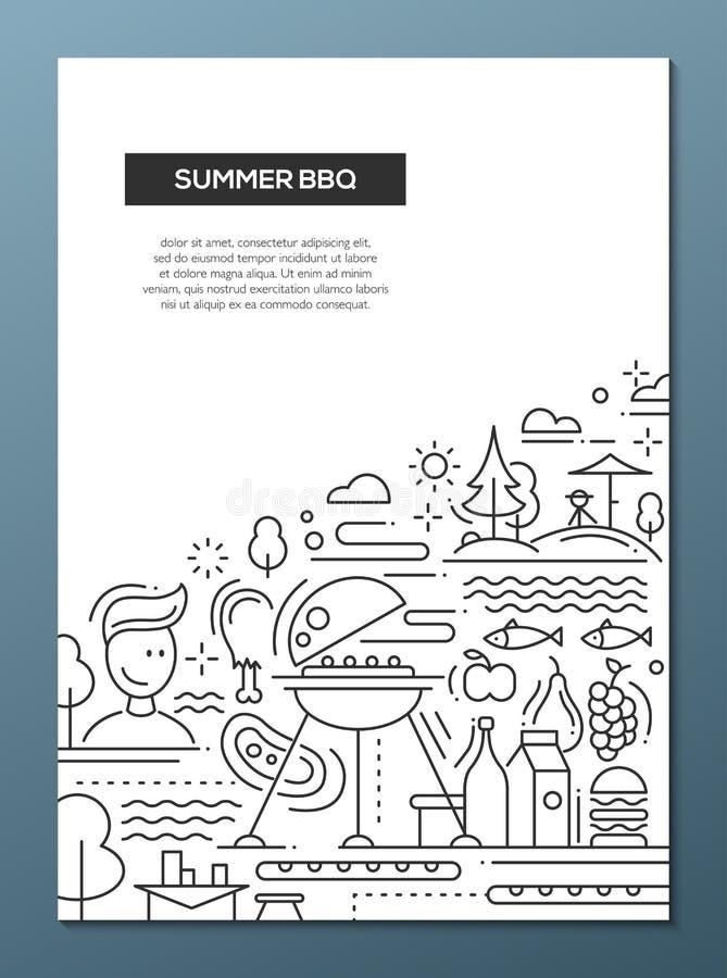 Lato grill i pinkin linii projekta plakat ilustracji